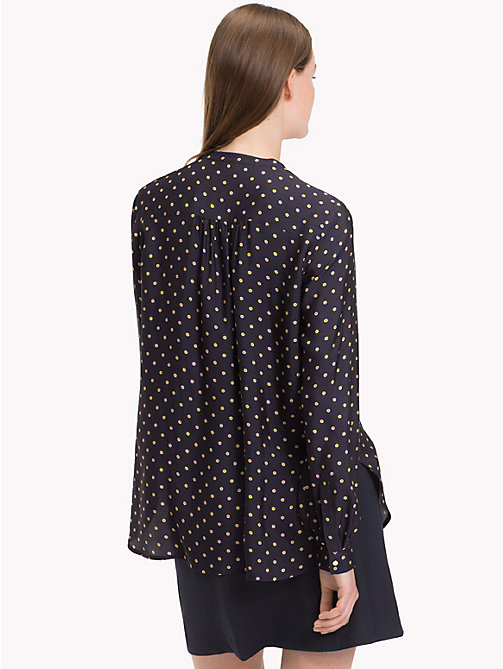 TOMMY HILFIGER Mandarin Collar Blouse - OUTLINE POLKA / SKY CAPTAIN - TOMMY HILFIGER Black Friday Women - detail image 1