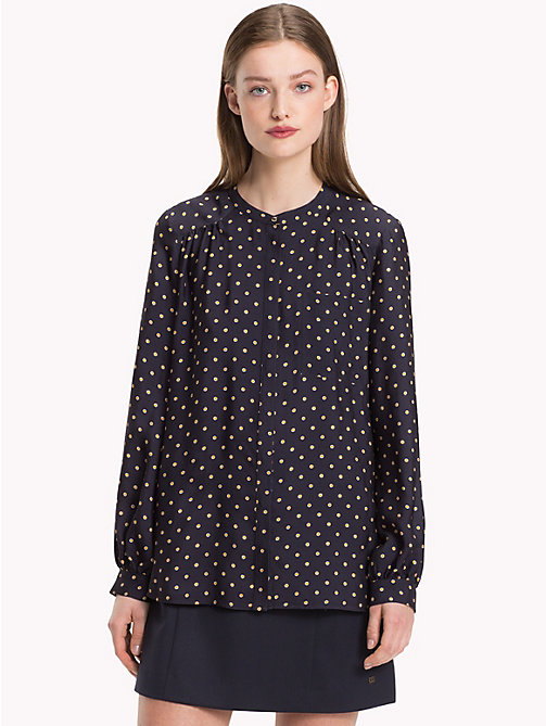 TOMMY HILFIGER Mandarin Collar Blouse - OUTLINE POLKA / SKY CAPTAIN - TOMMY HILFIGER Black Friday Women - main image