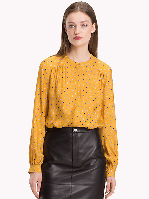 TOMMY HILFIGER Mandarin Collar Blouse - OUTLINE POLKA / SUNFLOWER - TOMMY HILFIGER Black Friday Women - main image