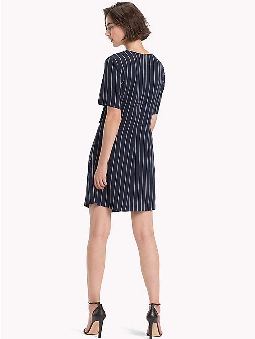 TOMMY HILFIGER Pinstripe Knot Front Dress - PINSTRIPE CW / SKY CAPTAIN - TOMMY HILFIGER Mini - detail image 1