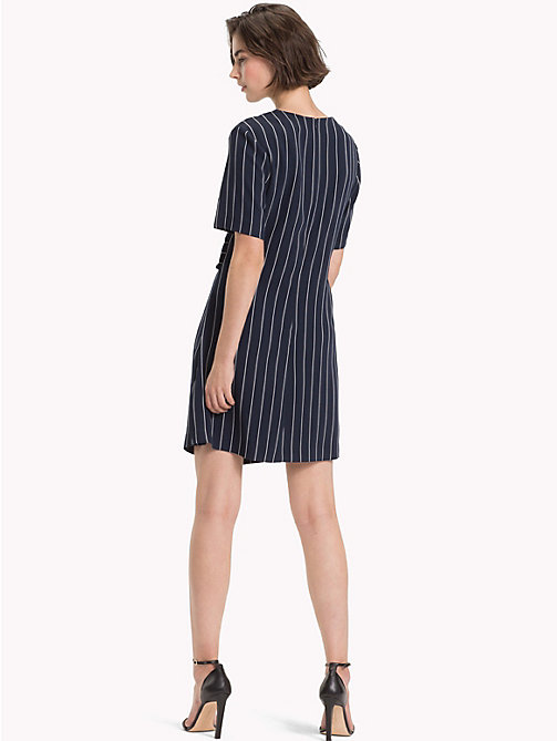 TOMMY HILFIGER Pinstripe Knot Front Dress - PINSTRIPE CW / SKY CAPTAIN -  Mini - detail image 1