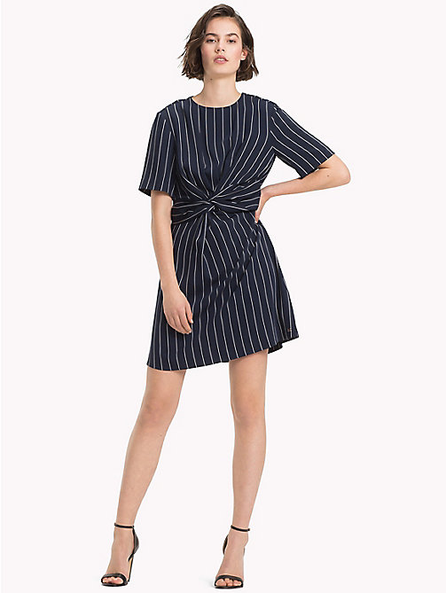 TOMMY HILFIGER Pinstripe Knot Front Dress - PINSTRIPE CW / SKY CAPTAIN - TOMMY HILFIGER The Office Edit - main image