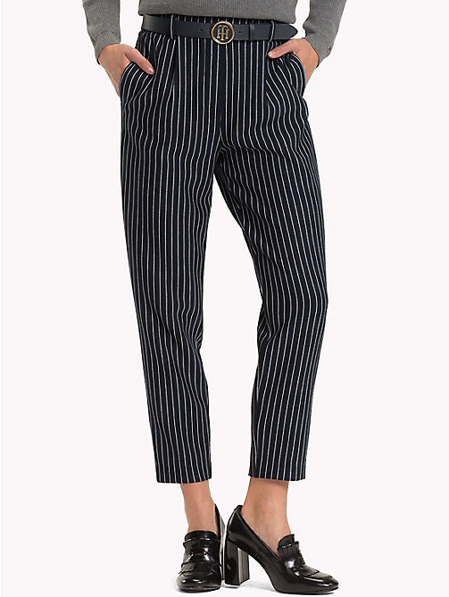TOMMY HILFIGER Pull-On Cropped Trousers - PINSTRIPE CW / SKY CAPTAIN - TOMMY HILFIGER Black Friday Women - main image