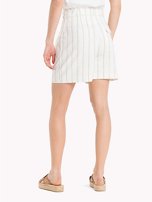 TOMMY HILFIGER High Waist Linen Shorts - SIMPLE STP LINEN / SNOW WHITE - TOMMY HILFIGER Vacation Style - detail image 1