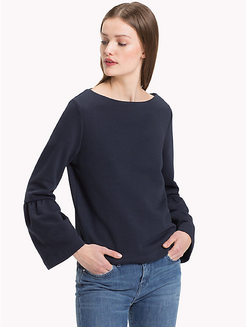 TOMMY HILFIGER Flared Sleeve Boat Neck Sweatshirt - MIDNIGHT - TOMMY HILFIGER Clothing - main image