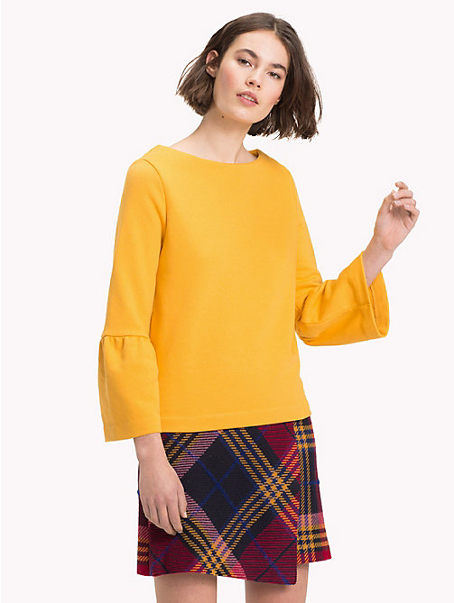 TOMMY HILFIGER Flared Sleeve Boat Neck Sweatshirt - SUNFLOWER - TOMMY HILFIGER Clothing - main image