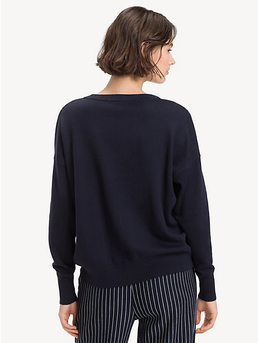 TOMMY HILFIGER Contrast Crew Neck Jumper - MIDNIGHT / HEATHER - TOMMY HILFIGER NEW IN - detail image 1