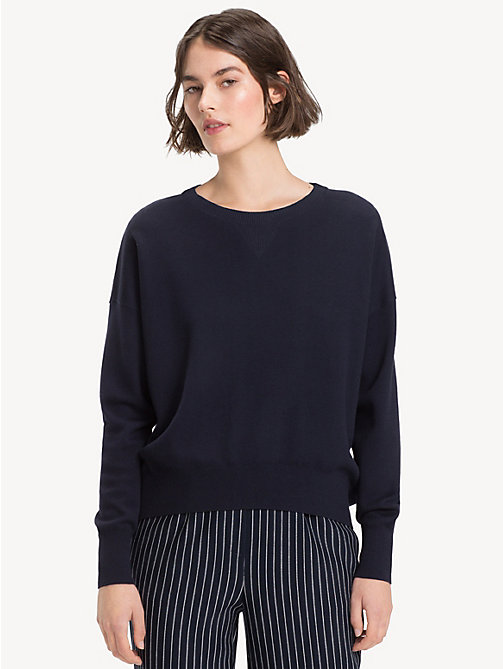 TOMMY HILFIGER Contrast Crew Neck Jumper - MIDNIGHT / HEATHER - TOMMY HILFIGER NEW IN - main image