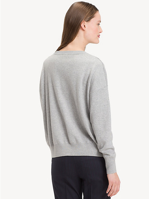 TOMMY HILFIGER Contrast Crew Neck Jumper - LIGHT GREY HTR / SHADY GLADE - TOMMY HILFIGER Jumpers - detail image 1