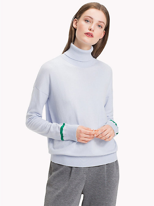 TOMMY HILFIGER Contrast Stripe Turtleneck Jumper - HEATHER - TOMMY HILFIGER NEW IN - main image