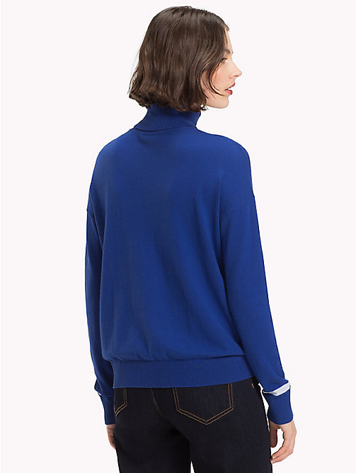 TOMMY HILFIGER Contrast Stripe Turtleneck Jumper - MAZARINE BLUE - TOMMY HILFIGER NEW IN - detail image 1