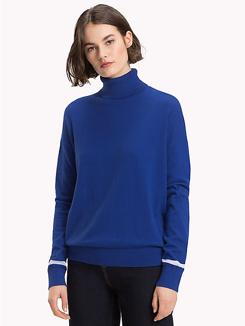 TOMMY HILFIGER Contrast Stripe Turtleneck Jumper - MAZARINE BLUE - TOMMY HILFIGER NEW IN - main image