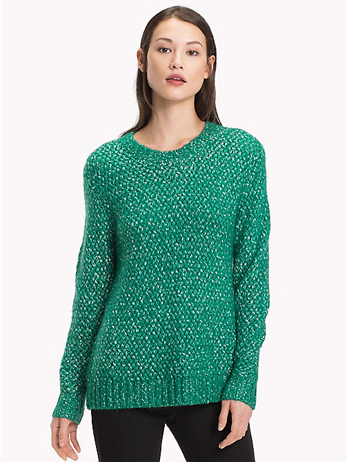 TOMMY HILFIGER Woven Knitted Jumper - SHADY GLADE - TOMMY HILFIGER Jumpers - main image