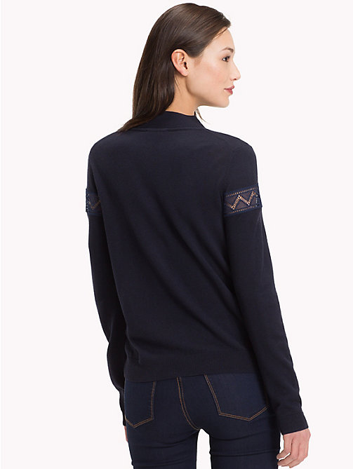 TOMMY HILFIGER Lace Panel Stripe Jumper - MIDNIGHT - TOMMY HILFIGER NEW IN - detail image 1