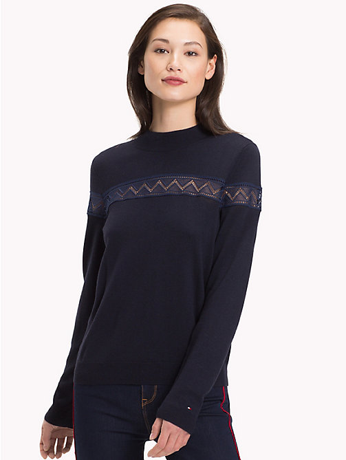TOMMY HILFIGER Lace Panel Stripe Jumper - MIDNIGHT - TOMMY HILFIGER NEW IN - main image