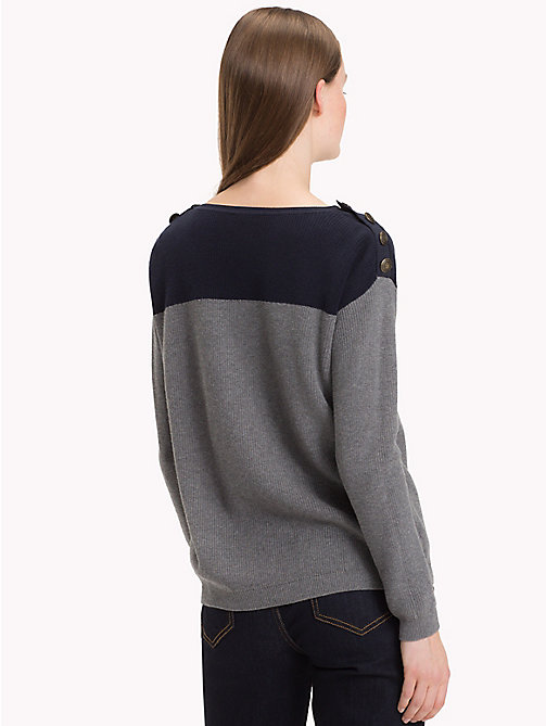 TOMMY HILFIGER Pull colour-block - SKY CAPTAIN / MEDIUM GREY HTR - TOMMY HILFIGER Pulls - image détaillée 1
