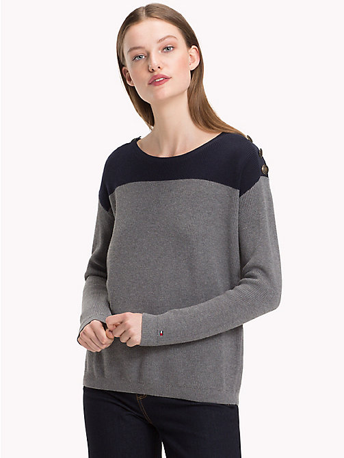 TOMMY HILFIGER Colour-Block Jumper - SKY CAPTAIN / MEDIUM GREY HTR - TOMMY HILFIGER Jumpers - main image