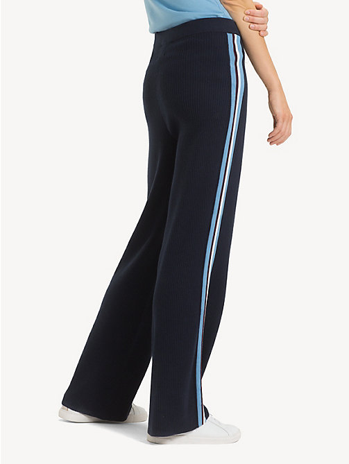 TOMMY HILFIGER Regular Fit Wide Leg Stripe Tape Joggers - MIDNIGHT - TOMMY HILFIGER Flared Trousers - detail image 1