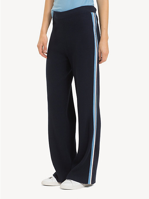 TOMMY HILFIGER Regular Fit Wide Leg Stripe Tape Joggers - MIDNIGHT - TOMMY HILFIGER NEW IN - main image