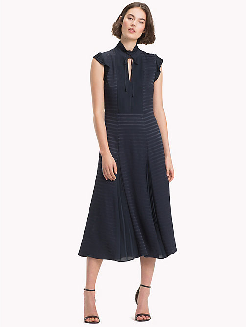 TOMMY HILFIGER Ruffled Midi Dress - MIDNIGHT - TOMMY HILFIGER Clothing - main image