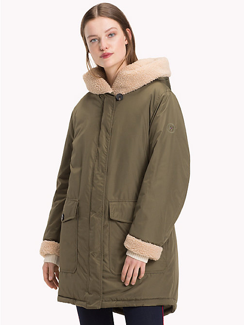 TOMMY HILFIGER Teddy Long Parka - OLIVE NIGHT - TOMMY HILFIGER Clothing - main image