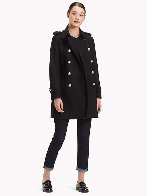 TOMMY HILFIGER Double-Breasted Wool Trench Coat - BLACK BEAUTY - TOMMY HILFIGER Coats - detail image 1