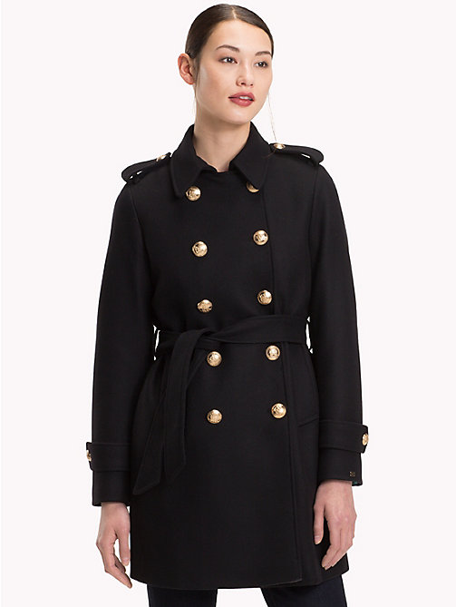 TOMMY HILFIGER Double-Breasted Wool Trench Coat - BLACK BEAUTY - TOMMY HILFIGER Coats - main image