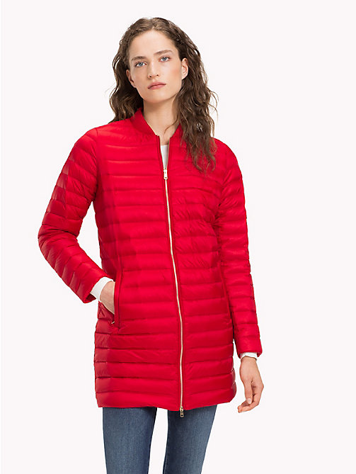 TOMMY HILFIGER Quilted Zip Thru Coat - POMPEIAN RED - TOMMY HILFIGER Sustainable Evolution - main image