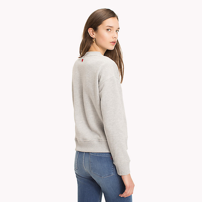 TOMMY HILFIGER Slogan and Heart Casual Jumper - SKY CAPTAIN / WHITE HEART - TOMMY HILFIGER Damen - main image 1