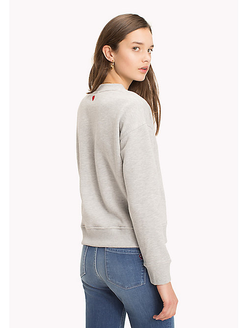 TOMMY HILFIGER Slogan and Heart Casual Jumper - LIGHT GREY HEATHER / TOMMY W LOVE - TOMMY HILFIGER TOMMYXLOVE - image détaillée 1