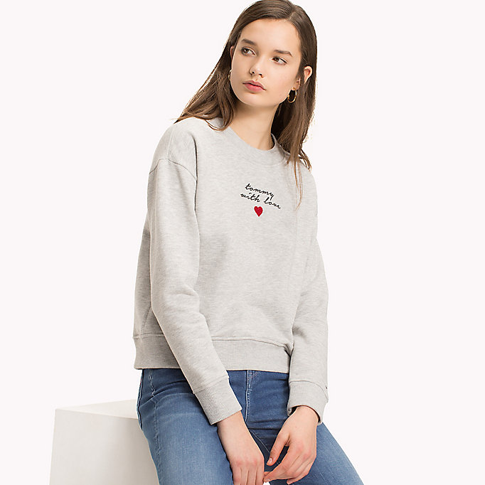 TOMMY HILFIGER Slogan and Heart Casual Jumper - SKY CAPTAIN / WHITE HEART - TOMMY HILFIGER Clothing - main image