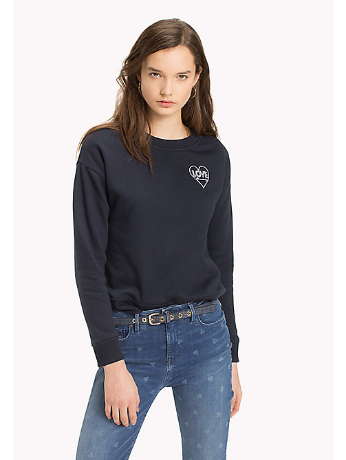 TOMMY HILFIGER Slogan and Heart Casual Jumper - SKY CAPTAIN / WHITE HEART - TOMMY HILFIGER TOMMYXLOVE - image principale