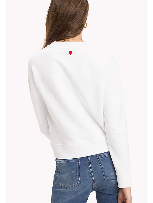 TOMMY HILFIGER Slogan and Heart Casual Jumper - CLASSIC WHITE / PINK HEART - TOMMY HILFIGER Pullover - main image 1