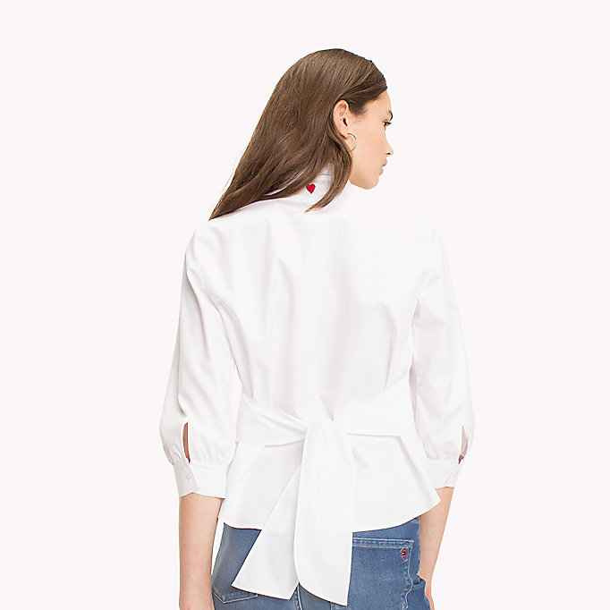 TOMMY HILFIGER Tie Back Cotton Blouse - HEATHER - TOMMY HILFIGER Donne - dettaglio immagine 1