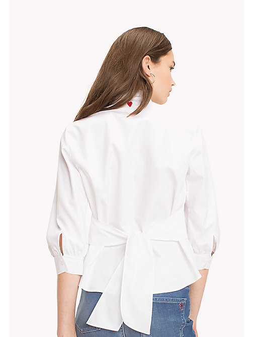 TOMMY HILFIGER Tie Back Cotton Blouse - CLASSIC WHITE - TOMMY HILFIGER Vêtements - image détaillée 1