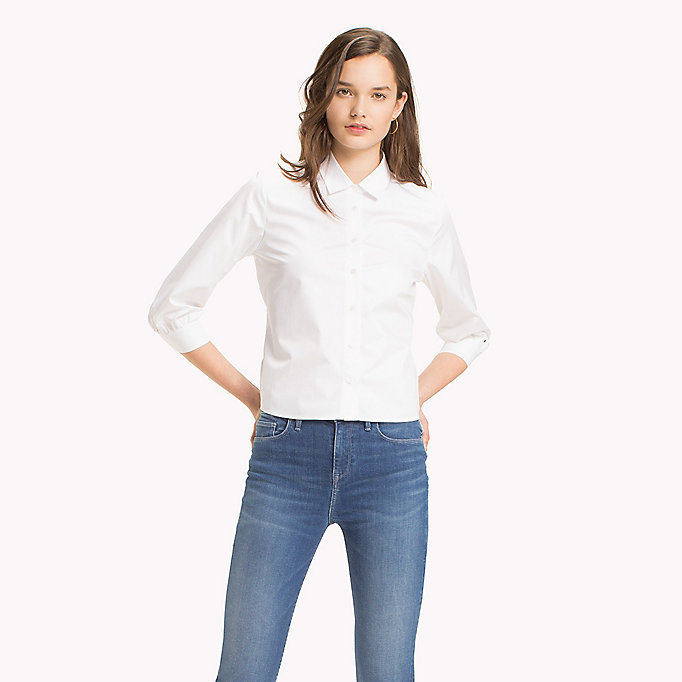 TOMMY HILFIGER Tie Back Cotton Blouse - HEATHER - TOMMY HILFIGER Donne - immagine principale