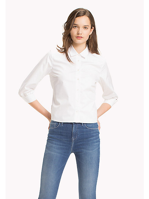 TOMMY HILFIGER Tie Back Cotton Blouse - CLASSIC WHITE - TOMMY HILFIGER Vêtements - image principale