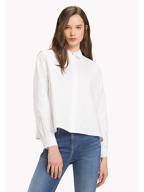 TOMMY HILFIGER Heart Detail Cotton Blouse - CLASSIC WHITE - TOMMY HILFIGER TOMMYXLOVE - immagine principale