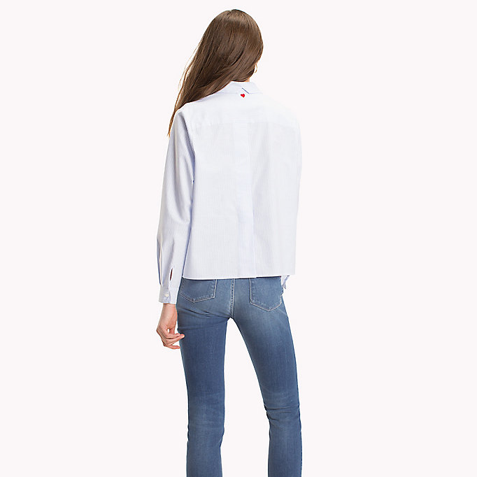 TOMMY HILFIGER Heart Detail Cotton Blouse - CLASSIC WHITE - TOMMY HILFIGER Women - detail image 1