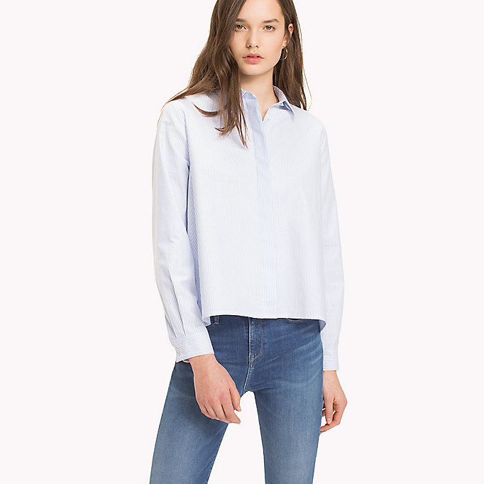 TOMMY HILFIGER Heart Detail Cotton Blouse - CLASSIC WHITE - TOMMY HILFIGER Women - main image