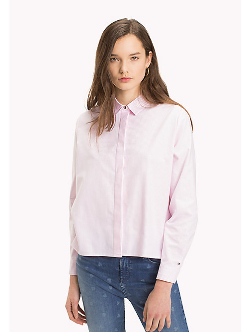 TOMMY HILFIGER Heart Detail Cotton Blouse - LIGHT PINK / CLASSIC WHITE STRIPE - TOMMY HILFIGER Vêtements - image principale
