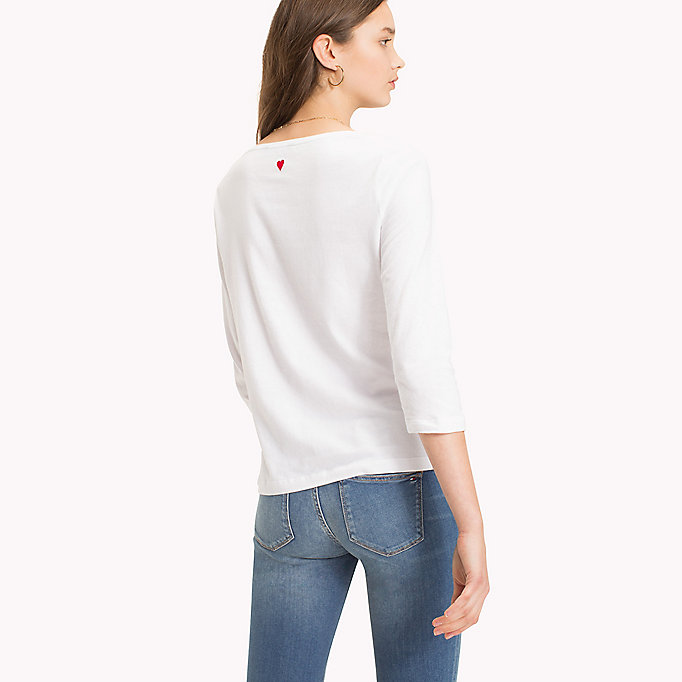 TOMMY HILFIGER Slogan Three Quarter Sleeve T-Shirt - CLASSIC WHITE / MIDNIGHT STP - TOMMY HILFIGER Donne - dettaglio immagine 1