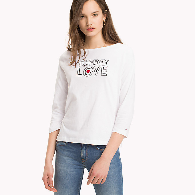 TOMMY HILFIGER Slogan Three Quarter Sleeve T-Shirt - CLASSIC WHITE / MIDNIGHT STP - TOMMY HILFIGER Donne - immagine principale