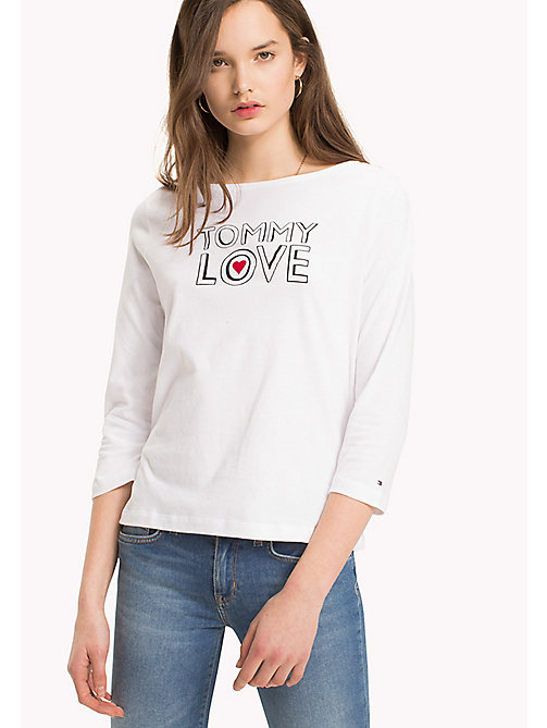 TOMMY HILFIGER Slogan Three Quarter Sleeve T-Shirt - CLASSIC WHITE / TOMMY LOVE PRINT - TOMMY HILFIGER T-Shirts - main image