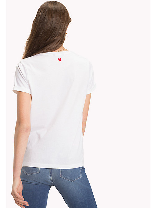 TOMMY HILFIGER Crew Neck Slogan T-Shirt - CLASSIC WHITE / RED HEART - TOMMY HILFIGER Vacation Style - detail image 1