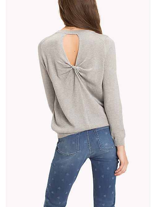 TOMMY HILFIGER Ruched Cutout Back Jumper - MEDIUM GREY HTR - TOMMY HILFIGER TOMMYXLOVE - detail image 1