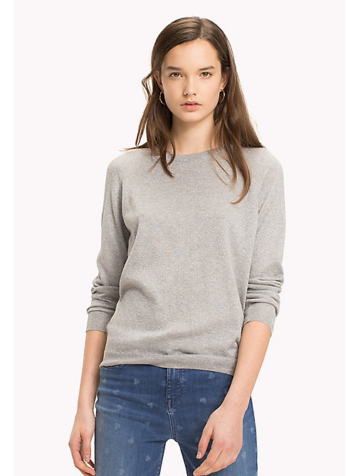 TOMMY HILFIGER Ruched Cutout Back Jumper - MEDIUM GREY HTR - TOMMY HILFIGER TOMMYXLOVE - image principale