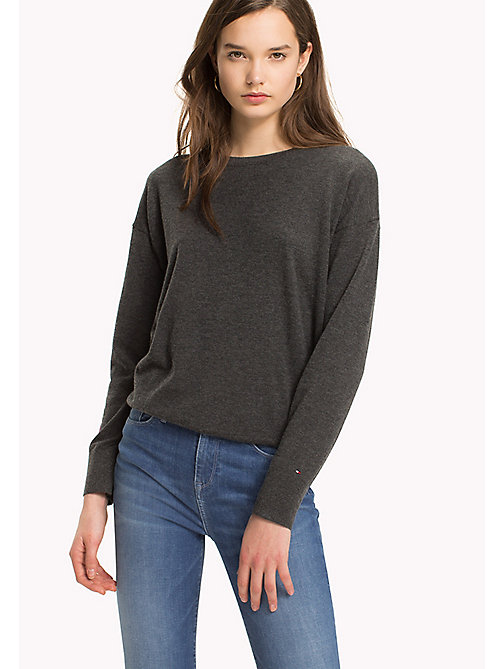 TOMMY HILFIGER Statement Heart Sleeve Jumper - DARK GREY HTR - TOMMY HILFIGER TOMMYXLOVE - main image