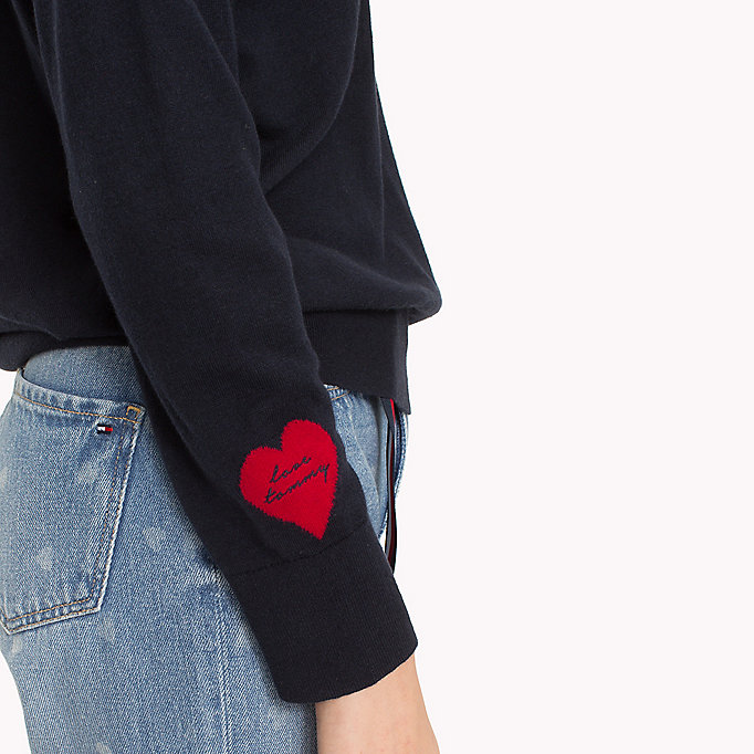 TOMMY HILFIGER Statement Heart Sleeve Jumper - DARK GREY HTR - TOMMY HILFIGER Women - detail image 2