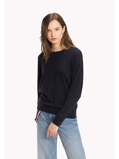 TOMMY HILFIGER Statement Heart Sleeve Jumper - MIDNIGHT - TOMMY HILFIGER TOMMYXLOVE - main image